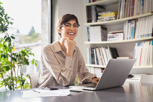 Person on computer being online personal assistant
